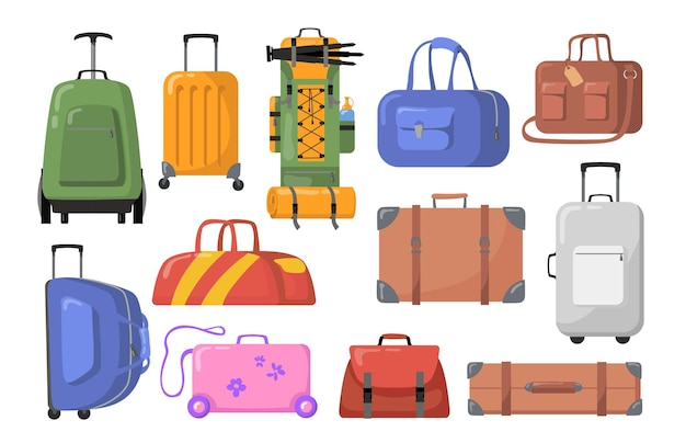 여행 가방 세트. 어린이 또는 성인용 바퀴가 달린 플라스틱 및 금속 가방, 트레킹 백팩