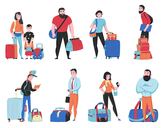 Travel bags set with tourists isolated illustration