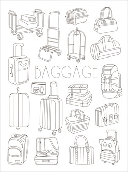 Travel bags and suitcases, hand drawn set