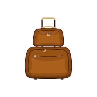 Чемоданы дорожных сумок на изолированной белой предпосылке. летняя коричневая дорожная ручка для багажа. современная концепция путешествий. плоский значок иллюстрации.