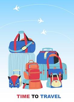平らなイラストを旅行する時間のあるトラベルバッグ