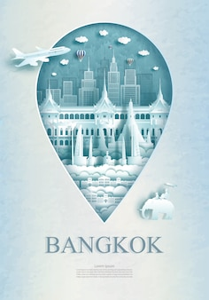 Travel bangkok monument pin in thailand with ancient architecture.