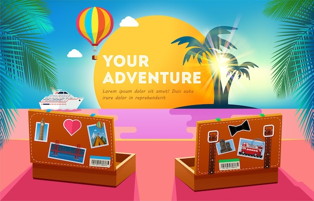 Travel banner design with two suitcases that look at the sunset.