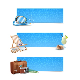 Travel banner horizontal set