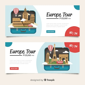 Travel banner open suitcase flat design