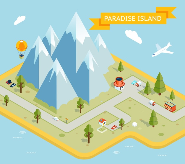 旅行バナー。パラダイス島等尺性フラットマップ。自然と休暇、海と島。ベクトルイラスト
