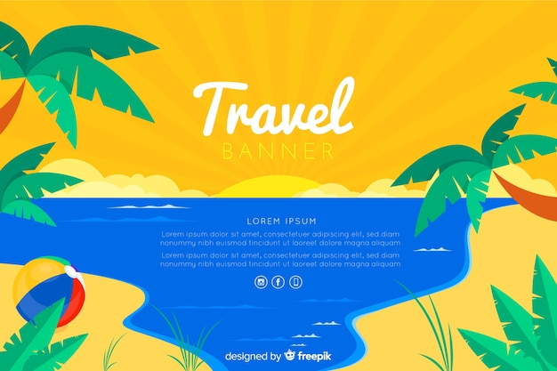 Travel banner template flat design