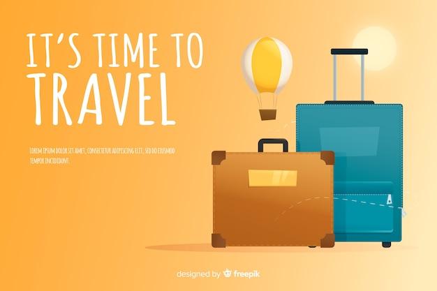 Travel banner template flat design