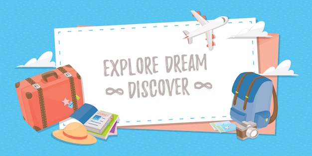 Travel banner for web , poster or application.