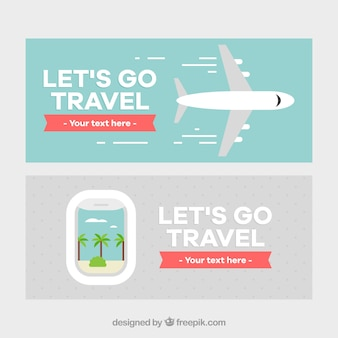 Travel banner with airplane design
