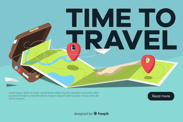 Travel banner with flat design