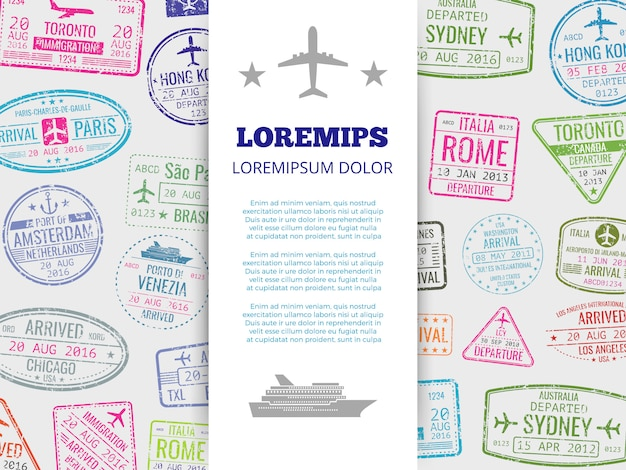 Travel banner with grunge passport stamps background