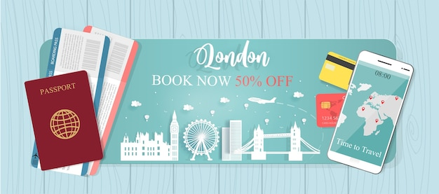 Travel banner with passport and tickets