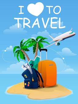 Туристический баннер со словами «я люблю путешествовать». сумка, карта, пальма, билеты и авиалайнер. путешествия, туризм, отдых и отдых. векторная иллюстрация