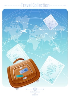 Travel banner with world map and vacation suitcase