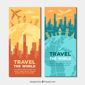 Travel banners around the world