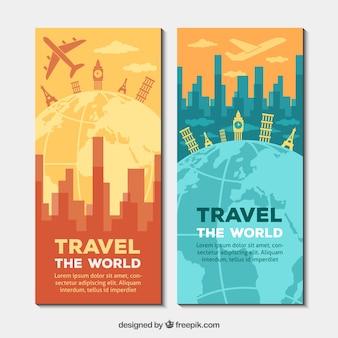 Bandiere di viaggio in tutto il mondo