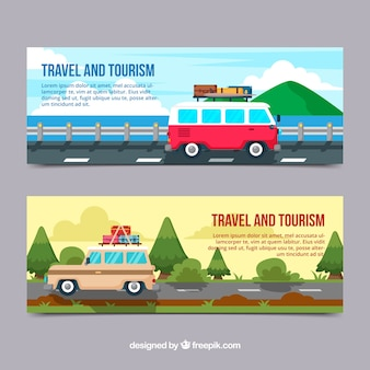 Travel banners collection with destination
