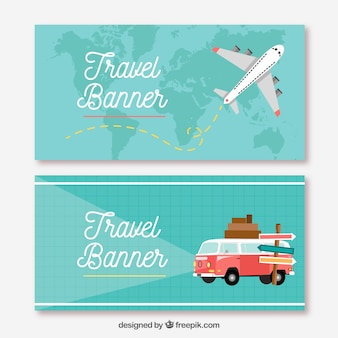 Travel banners in flat style