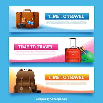 Плакаты путешествий в реалистичном стиле