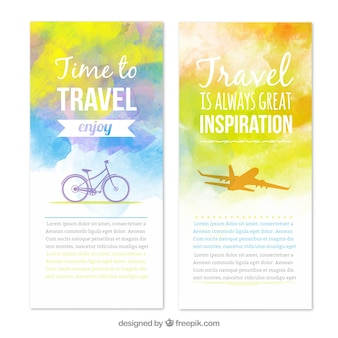 Travel banners in watercolor style