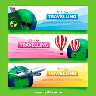Travel banners in realistic style