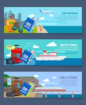 Travel banners set in modern flat style vector illustration