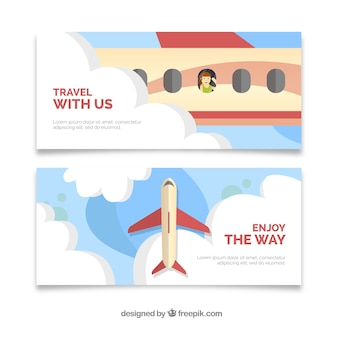 Travel banners with airplane