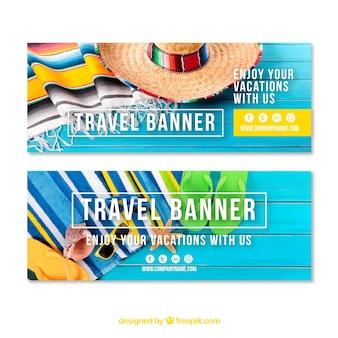 Туристические баннеры с элементами пляжа