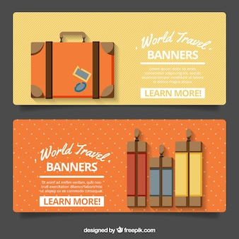 Travel banners with decorative suitcases