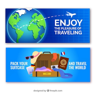 Travel banners with destinations