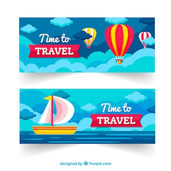 Travel banners with destionations