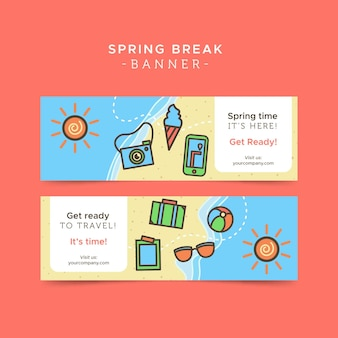 Travel banners with elements in linear style
