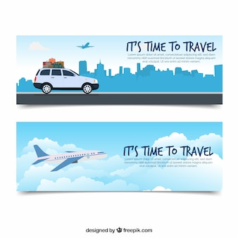 Travel banners with flat design