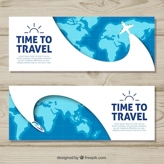 Travel banners with hand drawn style
