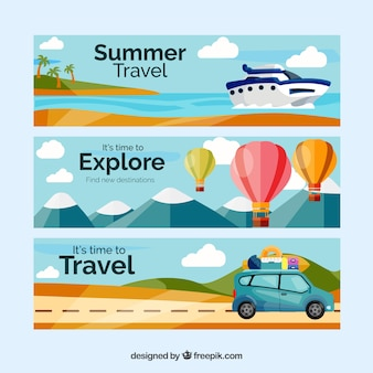 Travel banners with landscape