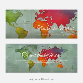 World map vectors photos and psd files free download travel banners with map gumiabroncs Choice Image