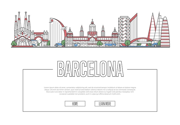 Веб-страница путешествия барселона в линейном стиле