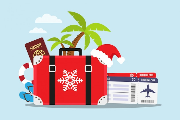 Travel to the beach in christmas holiday