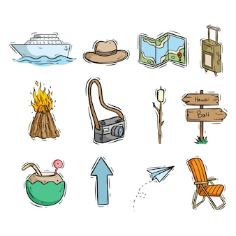 Travel or beach icons with hand drawn or doodle style