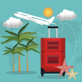 旅行ビーチスーツケース赤い飛行機の休暇の設計