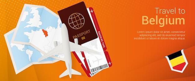 Travel to belgium popunder banner trip banner with passport tickets