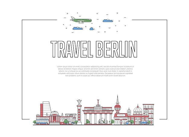Travel berlin poster in linear style