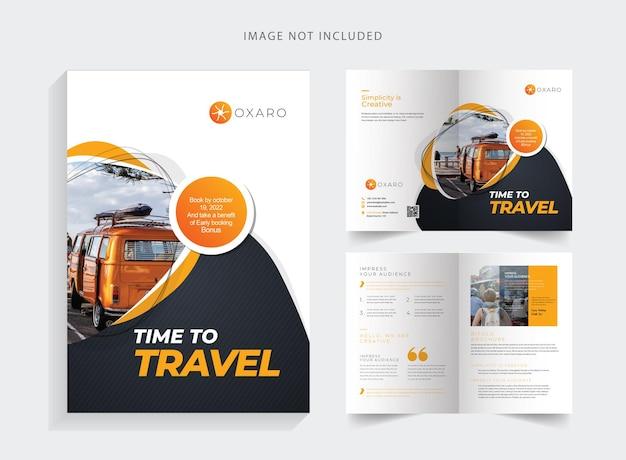 Шаблон туристической брошюры в два сложения