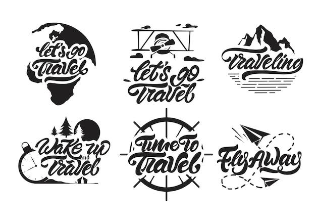 Большой набор путешествия логотип в стиле надписи.