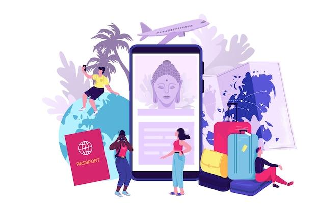 Иллюстрация концепции блога путешествий. путешествующие символы с моделью самолета, смартфоном, билетом на самолет, паспортом и глобусом. путешественники размещают в интернете свои видеоролики о поездках во время отпуска. Premium векторы