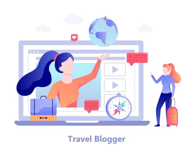 여행 블로거 개념. 블로그 용 동영상 촬영 여성