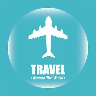 Travel over blue illustration
