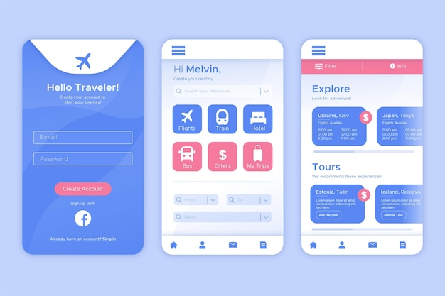 Travel booking app concept
