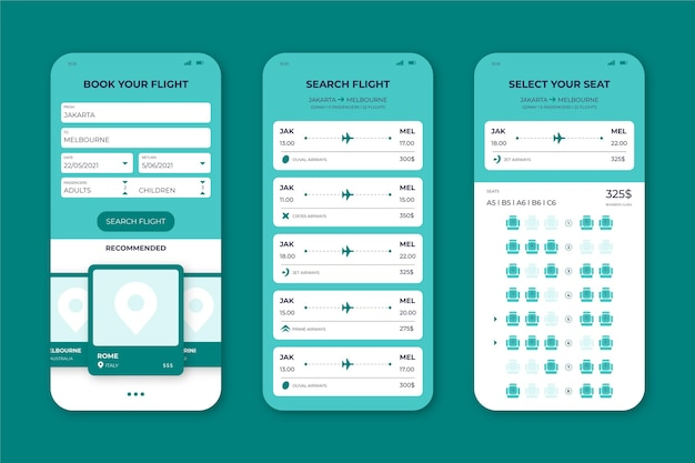 旅行予約アプリのインターフェースセット